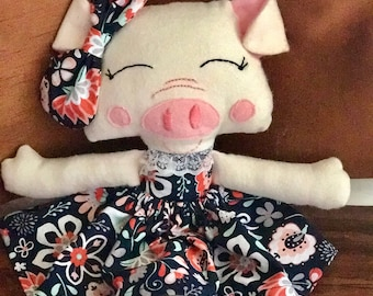 Pig Stuffed Animal with Dress, floral, bow
