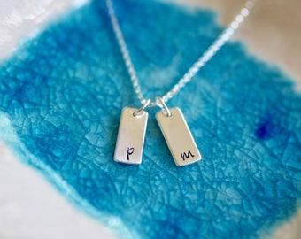 Initial Necklace -  Mother Necklace - Gift For Girl - Girl Jewelry - Initial Jewelry - Initials - Sterling Silver - Rectangular Initial