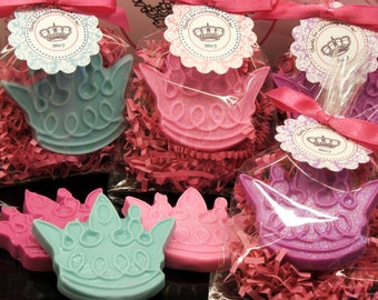 Set of 10 Tiara Crown Soap Party Favor Baby Shower Princess Birthday Bridal Shower Custom Party Favors