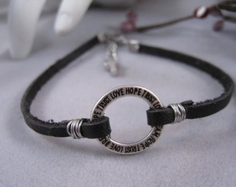 Black leather bracelet, love, dream, hope, trust, circle charm bracelet, tiny silver cross, baptism gift, confirmation gift