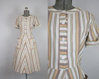 1950's Brown Stripe Shirtwaist Cotton Day Dress / Size Large