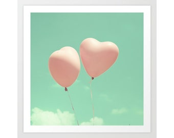 Girl nursery wall art girl nursery decor girl, canvas art, large nursery art, balloon art, balloon wall art, mint nursery decor, coral,