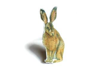 Brown Hare Brooch, Hare Pin Badge, Woodland Animal Wildlife Jewellery Gift