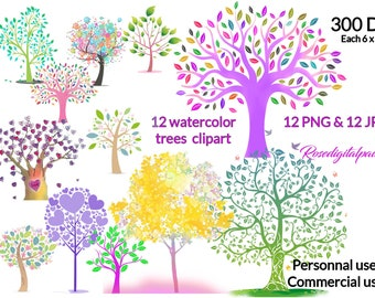 Watercolor Tree Clipart. Spring trees clip art - Tree clipart. Png + Jpg. Digital clip art - Personal & Commercial use. INSTANT DOWNLOAD