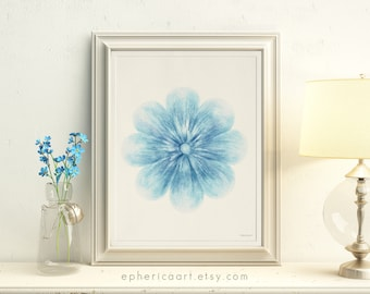 Blue Flower art, Instant download art, Blue wall art, Flower wall decor, DIY wall art Blue Nursery decor, 8x10 art Floral decor, Bedroom art