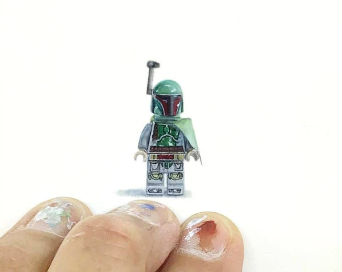 Print of miniature watercolor painting of Lego boba fett.  giclee print of Star Wars boba fett