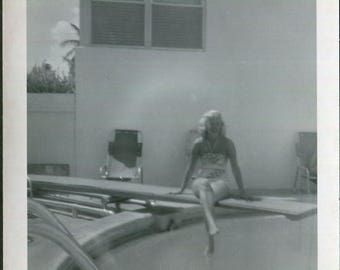 Vintage Snapshot Photo of Mystery Woman on Diving Board 1950's, Original Found Photo, Vernacular Photography