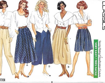 Butterick 4872 Misses Very Easy Skirt, Shorts, Culottes & Pants Pattern,  Size 12-16, UNCUT