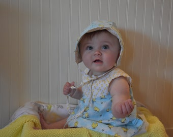 Spring Dress and Bonnet, Chickie Dress, Bow, Summer,