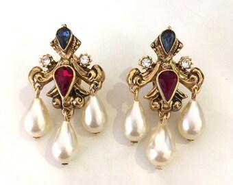 Vintage Swarovski Component Crystal Faux Pearl Chandelier Dangling Clip Earrings