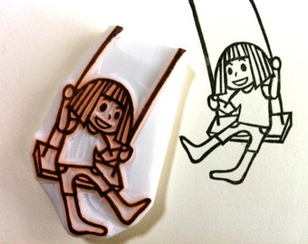 girl with her swing rubber stamp   birthday card making   diy art journal   craft gift for girls   hand carved by talktothesun