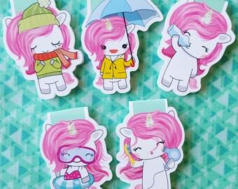 Pink Unicorns Magnetic Bookmark Set