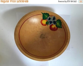 Sale - Mid Century Hand Painted Toleware Footed Turned Pine Wood Bowl with Fruit Painting