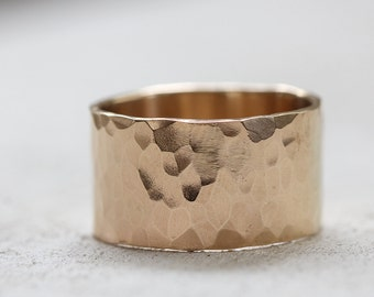 Extra Wide gold hammered band