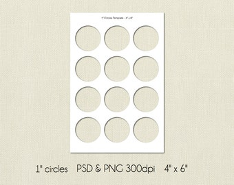 1 Inch Bottle Cap Digital Template, 4x6, PSD and PNG Formats, Instant Download