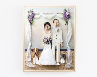 Custom Wedding Portrait, First Year Anniversary Gift.