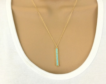 Turquoise Pendant Necklace Gold Bar Necklace Gold Layering Necklace Vertical Bar Stick Necklace Delicate Gemstone Necklace Turquoise Jewelry