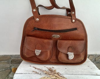 Vintage Lady Brown Leather Bag, Retro 70s Shoulder Bag RUSE, Bag with Handles, Every Day Bag, Gift for her