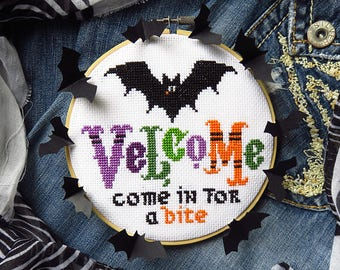 INSTANT DOWNLOAD Velcome PDF cross stitch patterns  by Lucky Star Stitches at thecottageneedle.com October vampire bat