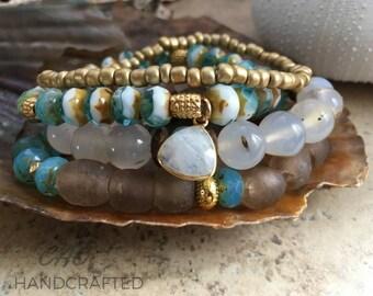 Pretty handcrafted gemstone stacker set