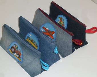 Set of 4 packages of recycled denim and pattern vehicles with Ribbon (20cm)