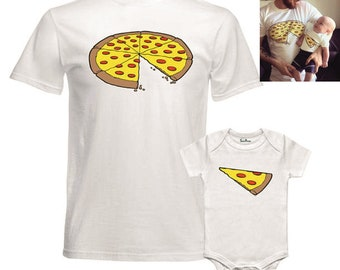 Pizza Slice Dad Son Matching Shirts Family Outfits Whole Pizza 1 Slice Missing Daddy Daughter Dad and Baby shirts Family Outfits Pizza Shirt