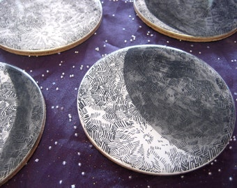 Moon Phases Coaster Set / set of 4 or 6 resin and cork coasters / letterpress printed / watercolor / lunar astronomy science decor (style 2)