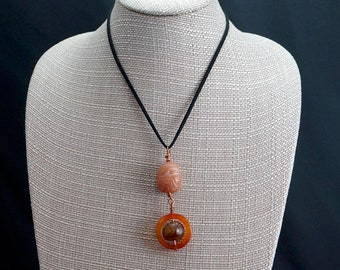 Carved Jade and Carnelian Pendant