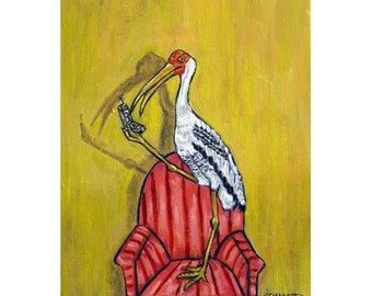 Painted Stork Talking to a Friend on the Phone abstract pop folk modern  Art Print