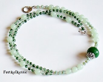Chain Green necklace Green Gem green amazonite agateing Pretty sharp Silver