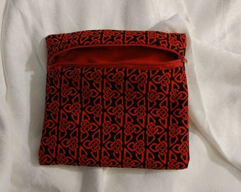 Red and black Celtic knot bag