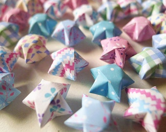 Dots Floral And Checks Origami Lucky Stars-Mixed Designs Wishing Stars Table Decor/Embellishment/Party Supply
