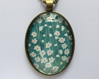 Pendant made with Japanese Chiyogami paper Oval JP3