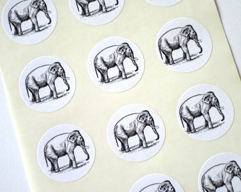 Elephant Stickers One Inch Round Seals