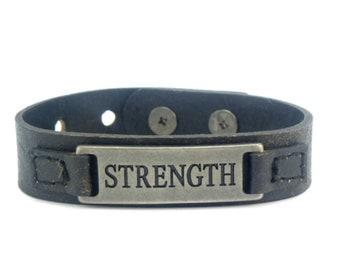 "Men's inspirational leather bracelet ""Strength"""