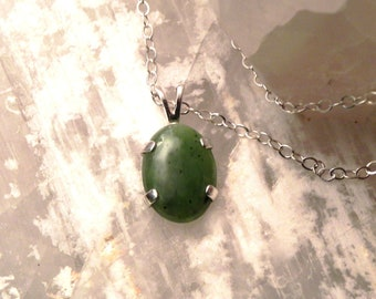 """18x13mm Jade & Sterling Silver 18"""" Necklace"""