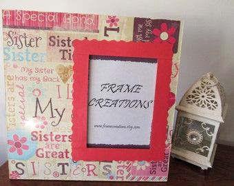 5x7 Sister Themed - Hand Decorated Picture Frame