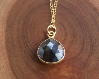 Faceted Pyrite Pendant on Fine 14k Gold Filled Chain