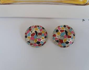 Vintage 1980s earrings| 80s disco clip-on |