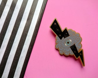 Eye of Providence Brooch by Misfit Makes. Black Lightning. All Seeing Eye. Mystic. Occult. Novelty Broch.