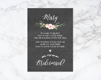 Watercolor Floral and Chalkboard Theme Will You Be My Bridesmaid Printable