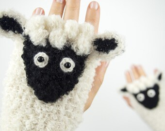 Lamb Fingerless Gloves ~ Handmade ~ Sheep