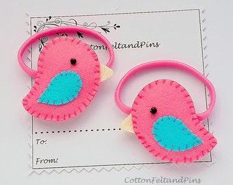 Bird hair ties, Handmade Felt padded pink love bird hair ties, pink love Bird hair elastics