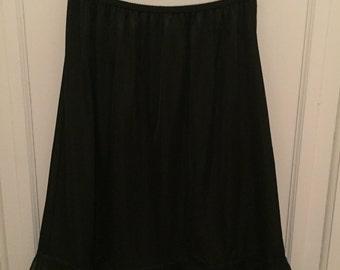 Vintage 1950s Movie Star Black Nylon Half Slip - Lace - size XLarge