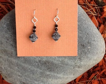 Sterling Silver African Bead Drop Earrings