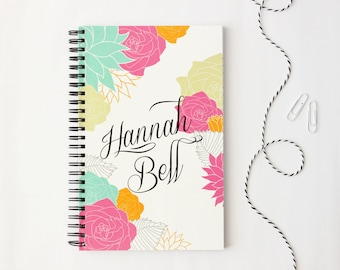 Floral Notebook Personalized Journal Colorful Custom Notebook Modern Flower Note Book Notepad Floral School Supplies Bridesmaid Gifts Office