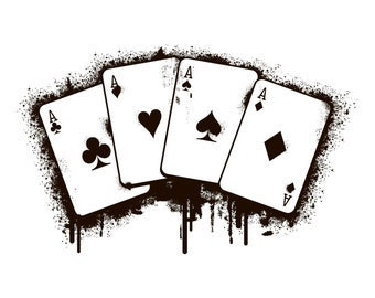 Aces, Cards, Poker, Four, Grunge, Distressed, Silhouette,SVG,Graphics,Illustration,Vector,Logo,Digital,Clipart