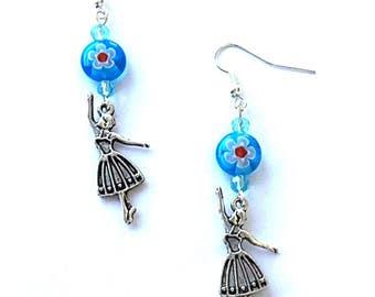 Ballerina earrings, blue millefiori ballet earrings