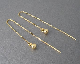 Earrings dangling chains through balls gold plated over 925 sterling silver 24 k Yellow