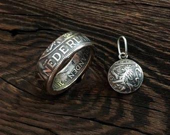 Dutch Coin Ring + Pendant, Silver, Made of Dutch Coin 2 1/2 Gulden - Netherlands - Nederland  - Holland - Guilder Set - Queen Juliana -